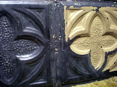 SALE Antique Gothic Victorian Ceiling Tin Tiles Canvas Chic Clover Quatrefoil