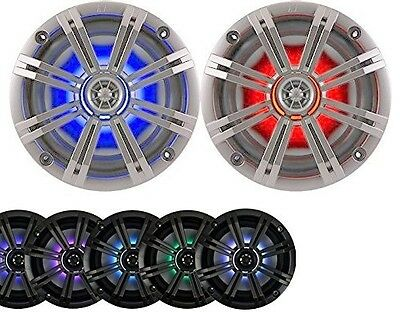 "2-Speakers Kicker 6.5"" 195W Marine Audio Coaxial Color LED Lights Silver Grill"