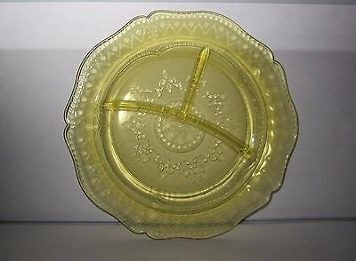 """FEDERAL GLASS Amber Yellow Patrician Pattern 11"""" Grill Plate Mfg 1933-1937"""