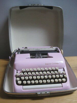 Vintage Custom Pink Smith Corona Sterling Typewriter With Case Works Great