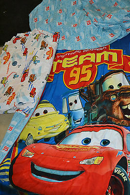 Disney Cars Lightning McQueen Crib Size Comforter Fitted and Flat Sheet Bed Set