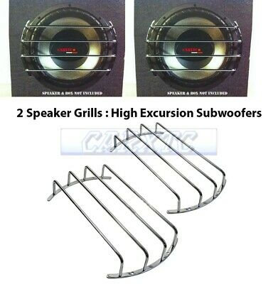 x2) 12 Inch Speaker Grills: CHROME Sub Woofer Bar Grille Covers Guard Set