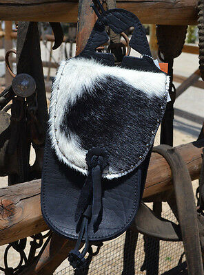 Black Leather Horn Bag with Black & White Hair On Cowhide Leather Rosette