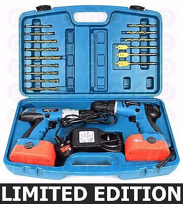 Powerlynx 18V Twin Cordless Drill Set Heavy Duty Power Hammer Impact Driver