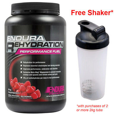 Free Shaker! Endura Performance Rehydration Energy Fuel 2Kg Raspberry Flavour*
