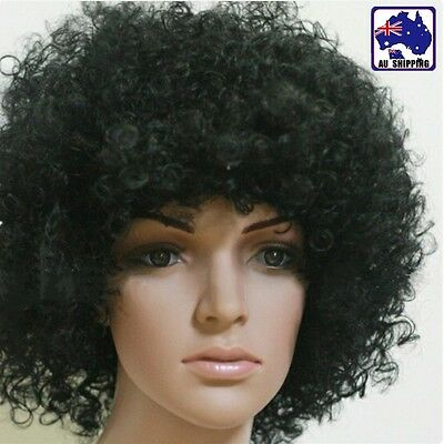 Black Afro Curly Wig Costume Fancy Dress Cosplay World Cup Party JHWI51555