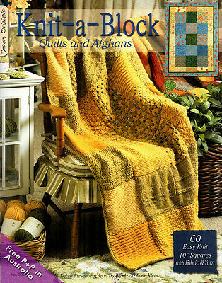 """NEW Knit-A-Block Quilts and Afghans 60 Easy Knit 10"""" Squares with Fabric & Yarn"""
