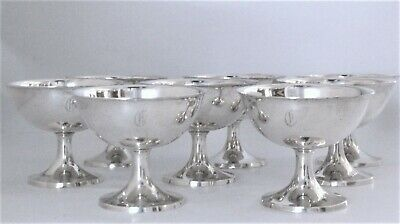 "Wallace Sterling Silver Champagne Sherbet Goblets #15 (8) Heavy ""C"" Monogram"