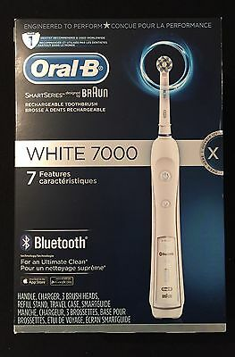 New Oral-B White 7000 Bluetooth Electric Toothbrush with Smartguide SEALED