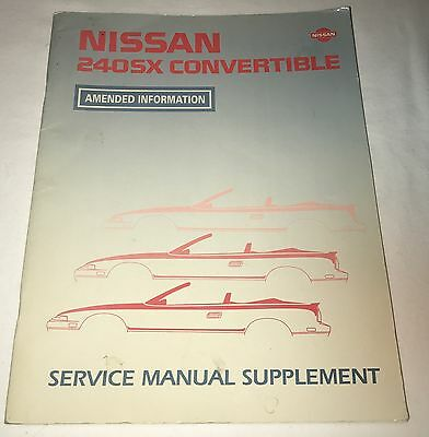 1992-1993 Nissan 240SX Convertible Service Manual Supplement Amended Information