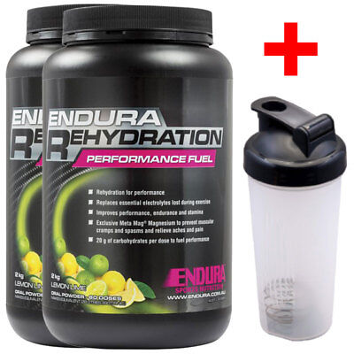 Free Shaker 2X Endura Performance Rehydration Energy Fuel 2Kg Lemon Lime Flavour
