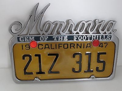 Vintage 1947' Morovia Ca. License Plate and Topper with metal cut out script