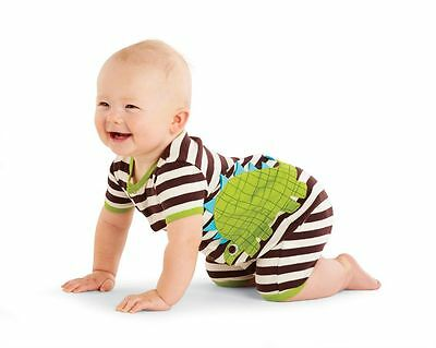 NWT Mud Pie Baby Boys Size 6-9 Months Striped Dino Shorts Creeper Romper Outfit