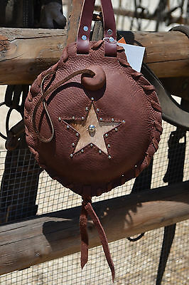 1.5 Qt. Rustic Brown Chap Leather Canteen Brown & Tan Cowhide Star w/Studs
