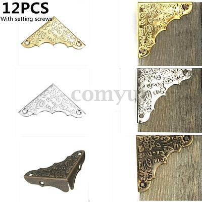 12Pcs Antique Iron Corner Protector Guard For Jewelry Wood Case Wine Box Gift UK