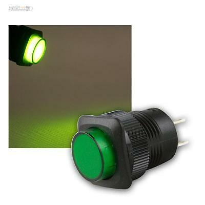 pressure switch mit LED-Lighting GREEN, max 1A/250V, Press button illuminated