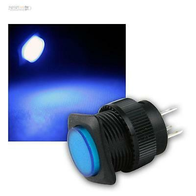 pressure switch mit LED-Lighting BLUE, max 1A/250V, Press button illuminated