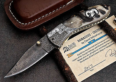 CFK USA DAVID YELLOWHORSE Custom Handmade Damascus SHEEP Folding Pocket Knife