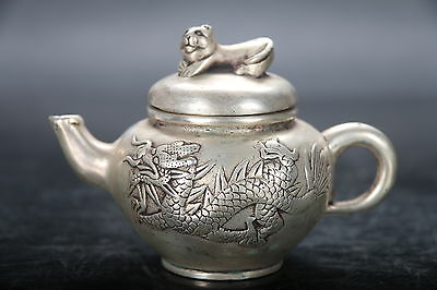 Exquisite Chinese Tibet Cupronickel hand Carved dragon teapot w XUANDE mark E911