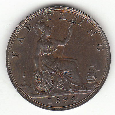 1894 Great Britain Queen Victoria 1 One Farthing.  High Grade.