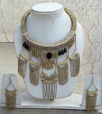 Vintage Chain Dangle Statement Necklace Gypsy Banjara Belly Dance Wear Party Eve