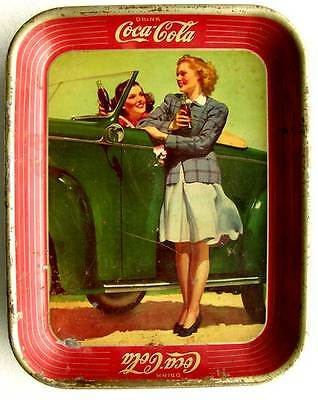 Orig. 1942 COCA-COLA Tin Lithograph ADVERTISING SERVING TRAY Pin-Up Like w/ CAR