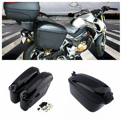 1 Pair Motorcycle Hard Trunk Saddle Bag Box Side Storage Luggage 22L Black US  sc 1 st  PicClick & 1 PAIR MOTORCYCLE Hard Trunk Saddle Bag Box Side Storage Luggage 22L ...