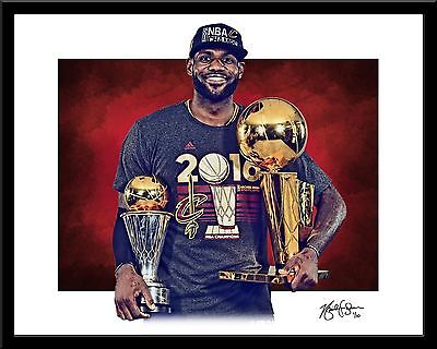LEBRON JAMES signed print #8/10 Cleveland Cavaliers! Rare Trophy NBA