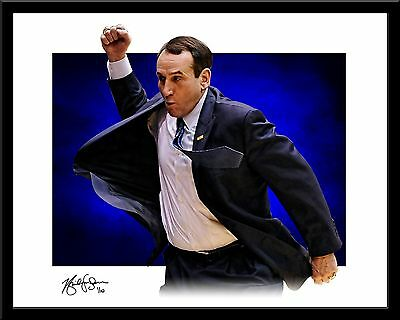 Mike Krzyzewski signed print #9/10 Duke Blue Devils Coach K Rare!