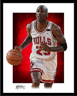 MICHAEL JORDAN signed print #5/10 Chicago Bulls Rare MJ 23