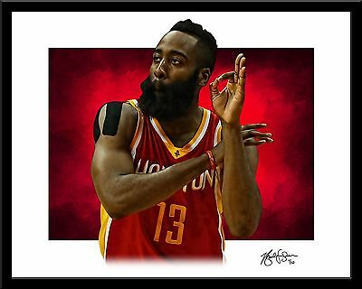 JAMES HARDEN signed print #4/10 Houston Rockets Rare