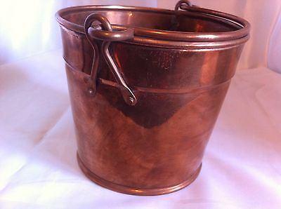 """Vintage 5"""" Tall  Copper Bucket Pail with handle"""