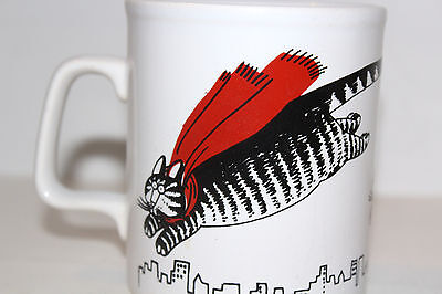 Vintage B KLIBAN Flying Cat with Red Scarf Cape Coffee Mug Made in England