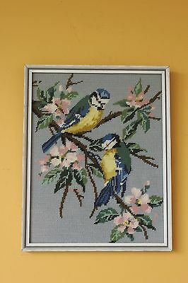 Vintage embroidery birds. Framed.