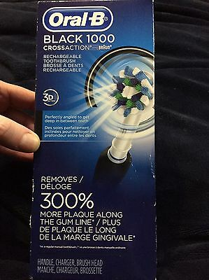 Brand New Oral-B Black 1000 Crossaction Braun Rechargeable Electric Toothbrush