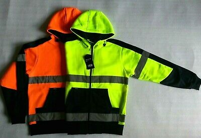 NEW Mens Ladies Hi-Vis Safety Work Wear Hoodie Fleece Jacket Reflective tape