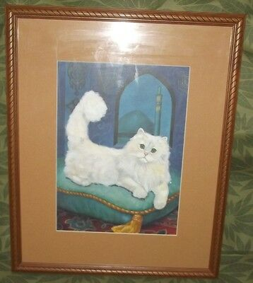 Vintage White Persian Cat on Pillow in Turquoise Room Framed