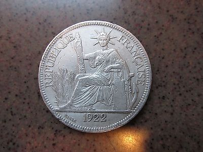 1922 H French Indo-China Silver Piastre De Commerce in XF+ Condition