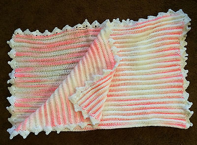 Vintage Variegated Pink & White Hand Knitted Baby Throw Afghan Blanket Quilt