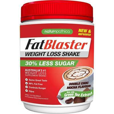 Naturopathica Fatblaster Weight Loss Shake 30% Less 430G New Double Choc Mocha