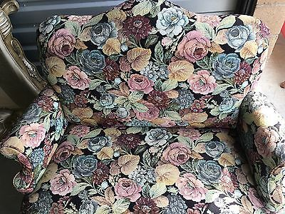 Vintage Floral Couch Bench Settee