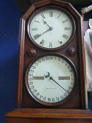 Antique Clock 2 x Faces USA Date and Time patented Feb 1876