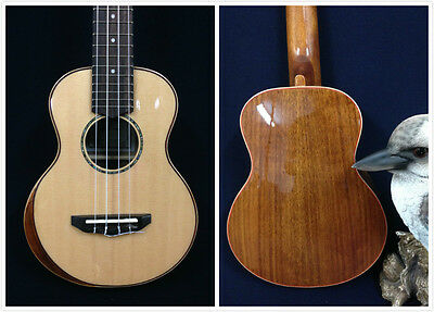 Caraya UK-23S-AR Solid Spruce Top Concert Ukulele,Gloss Natural,Beveled Armrest