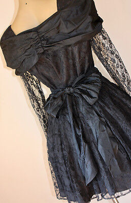 FRENCH VINTAGE 80's GOTHIC COCKTAIL LACE PARTY DRESS 14