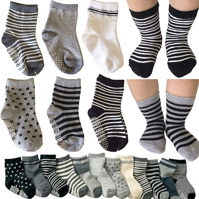Kakalu 6 Pairs Assorted Cotton Socks Baby Walker Boys Girls Toddler Anti Slip