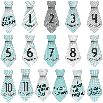 Stick'N Snap 16 Baby Kids Toddler Monthly Necktie Stickers Happy Patterns