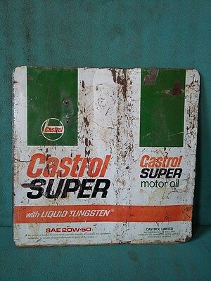 Vintage Old Castrol Super Motor Oil Ad. Litho Tin Sign Board collectible #114