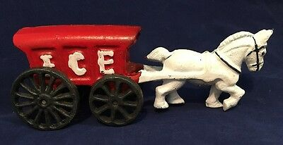 Vintage Cast Iron Toy Truck Metal Ice Wagon Pulled by Horse