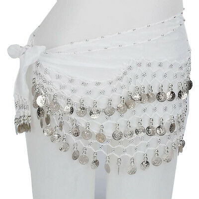 New Chiffon Belly Dance Belt Hip Scarf 3 Row of Silver Coins Scarf  Wrap Skirts