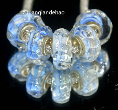 1 blue rope glass European charm bead - silver foil lampwork bracelet unusual